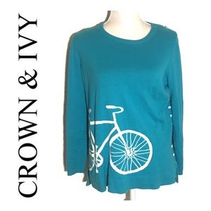 Crown & Ivy Striped Blue Bicycle Sweater